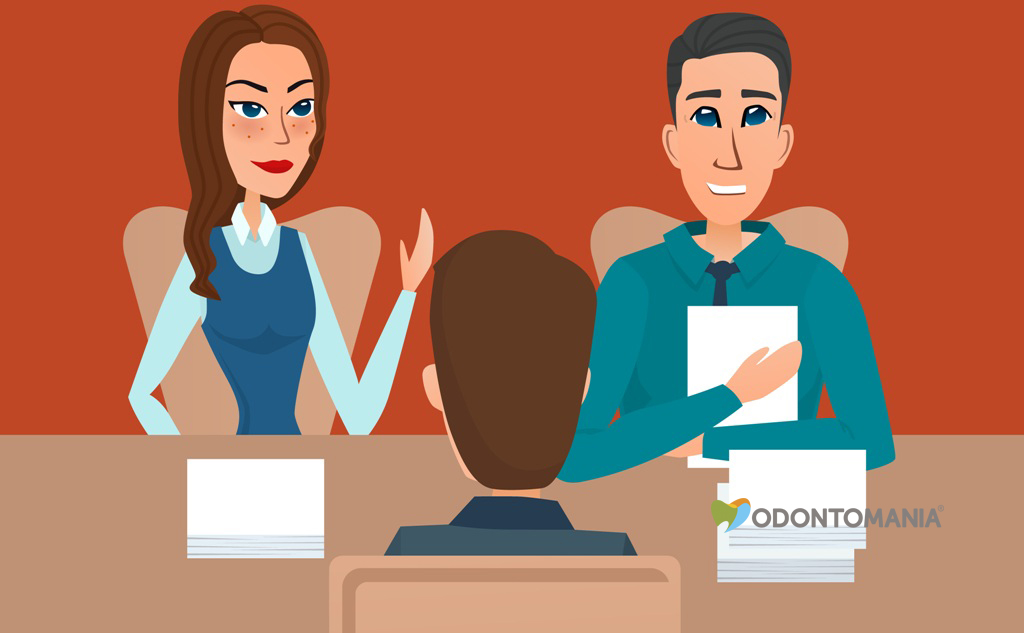 Man having a job Interview with HR specialists and a boss. Vector creative color illustrations flat design in flat modern style.